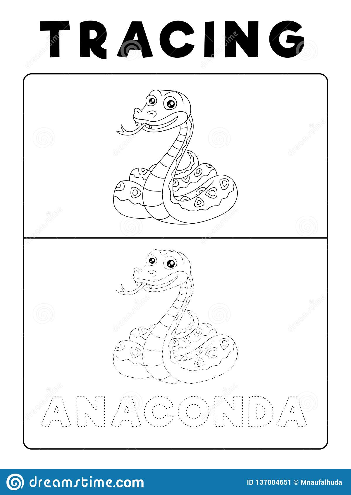 Funny Anaconda Snake Animal Tracing Book With Example