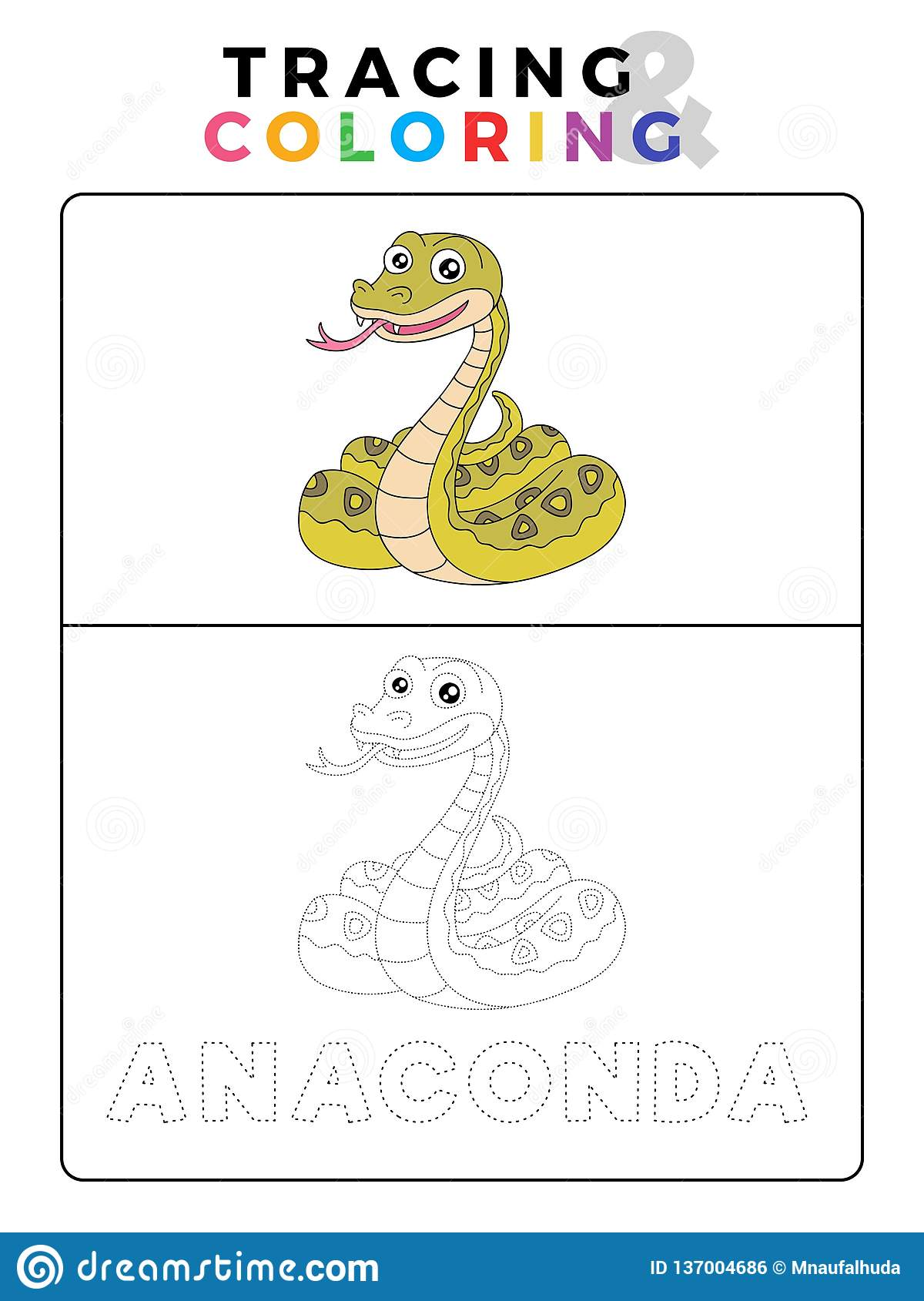 Funny Anaconda Snake Animal Tracing And Coloring Book With