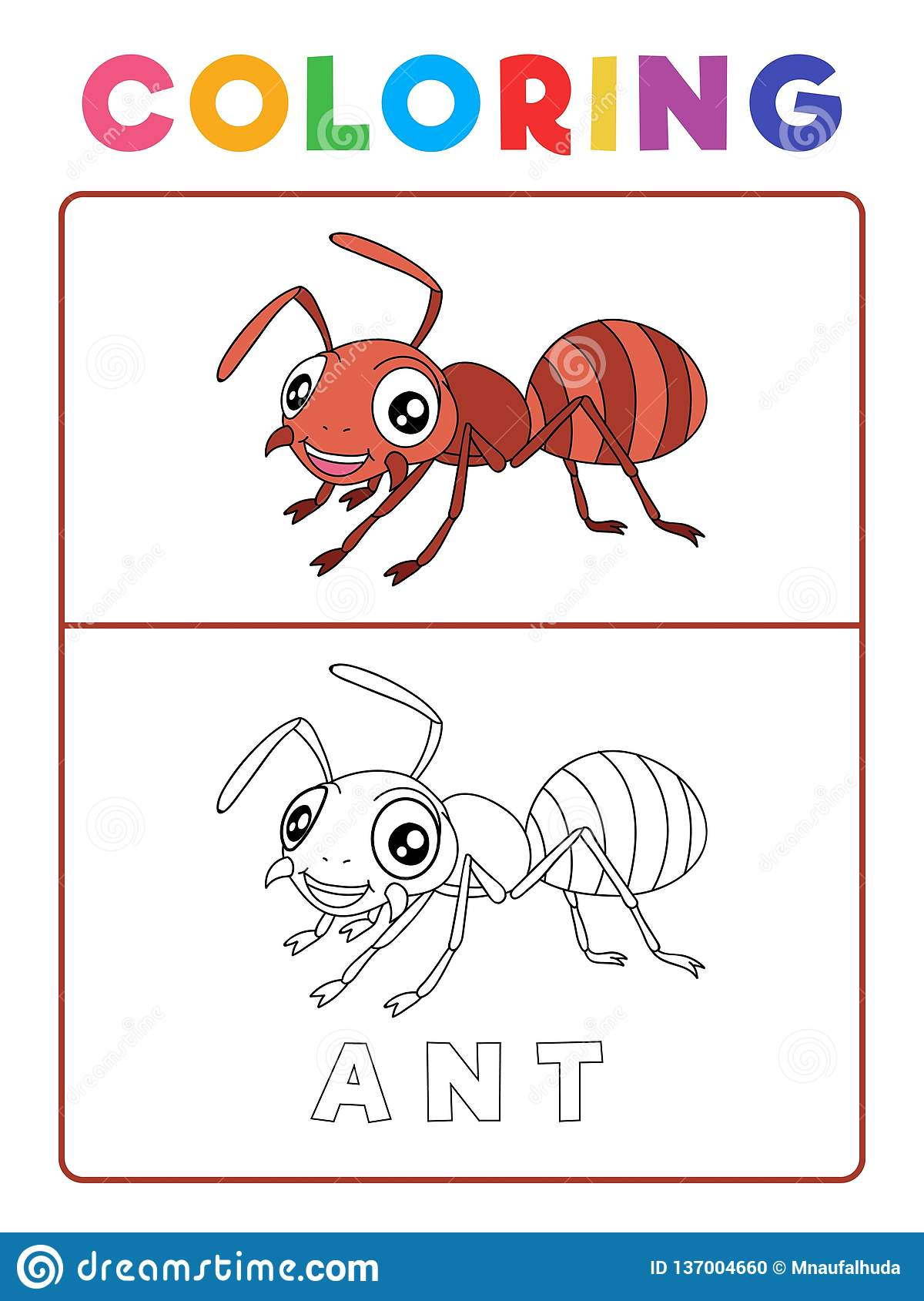 Funny Ant Insect Animal Coloring Book With Example