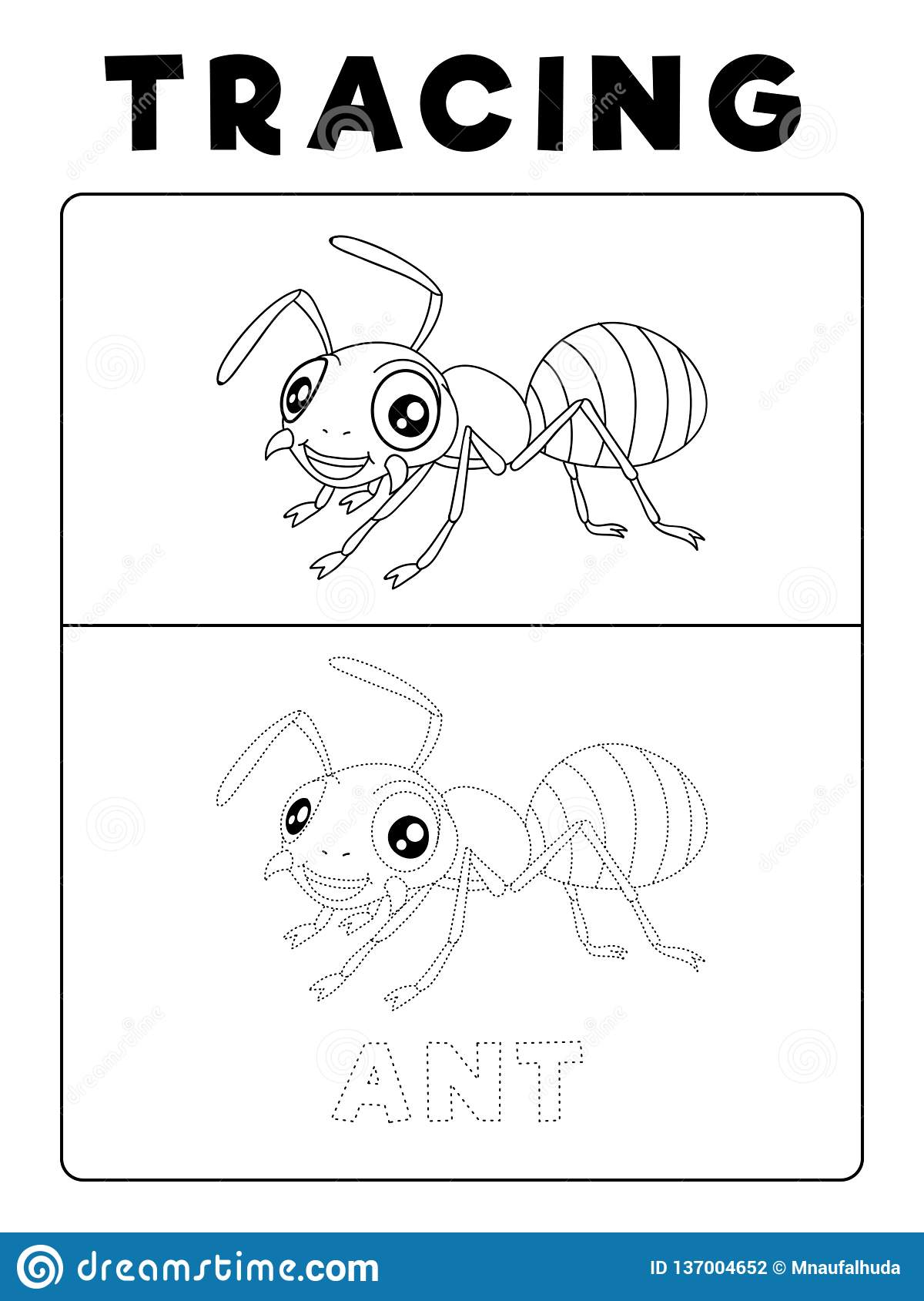 Funny Ant Insect Animal Tracing Book With Example Preschool Worksheet For Practicing Fine Motor