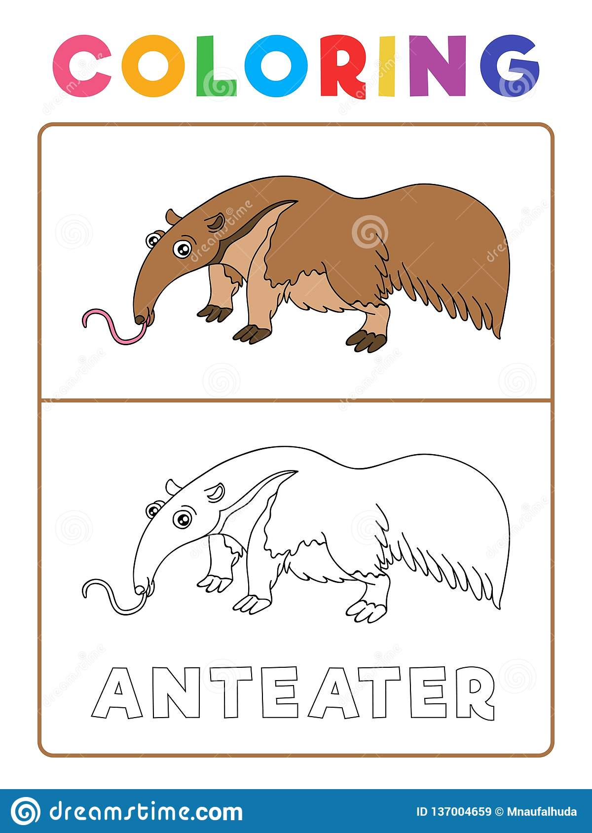 Funny Anteater Animal Coloring Book With Example