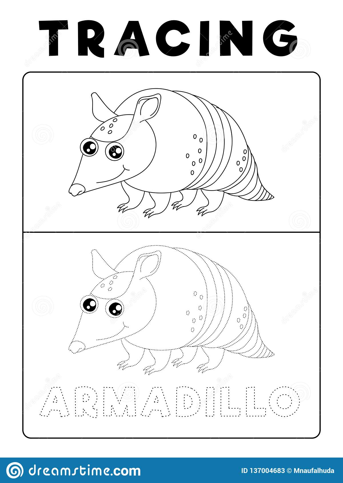Funny Armadillo Animal Tracing Book With Example