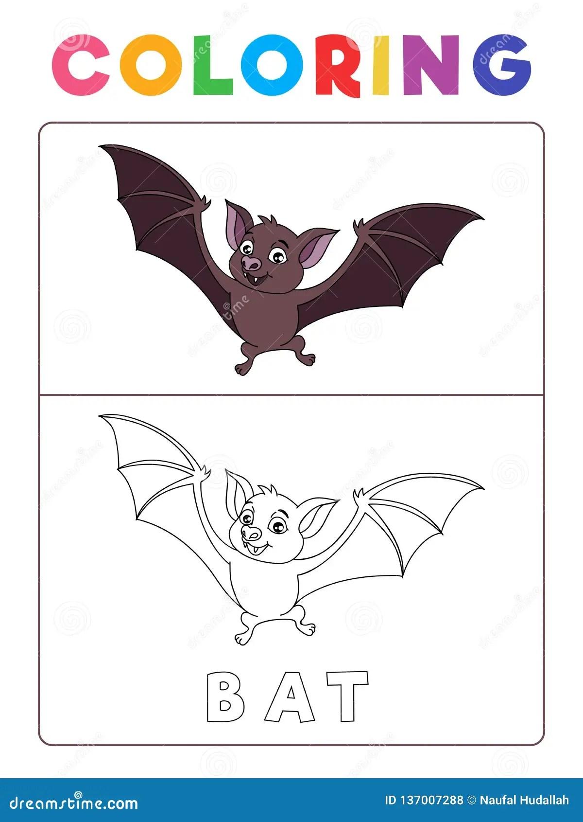 Funny Bat Coloring Book With Example Preschool Worksheet