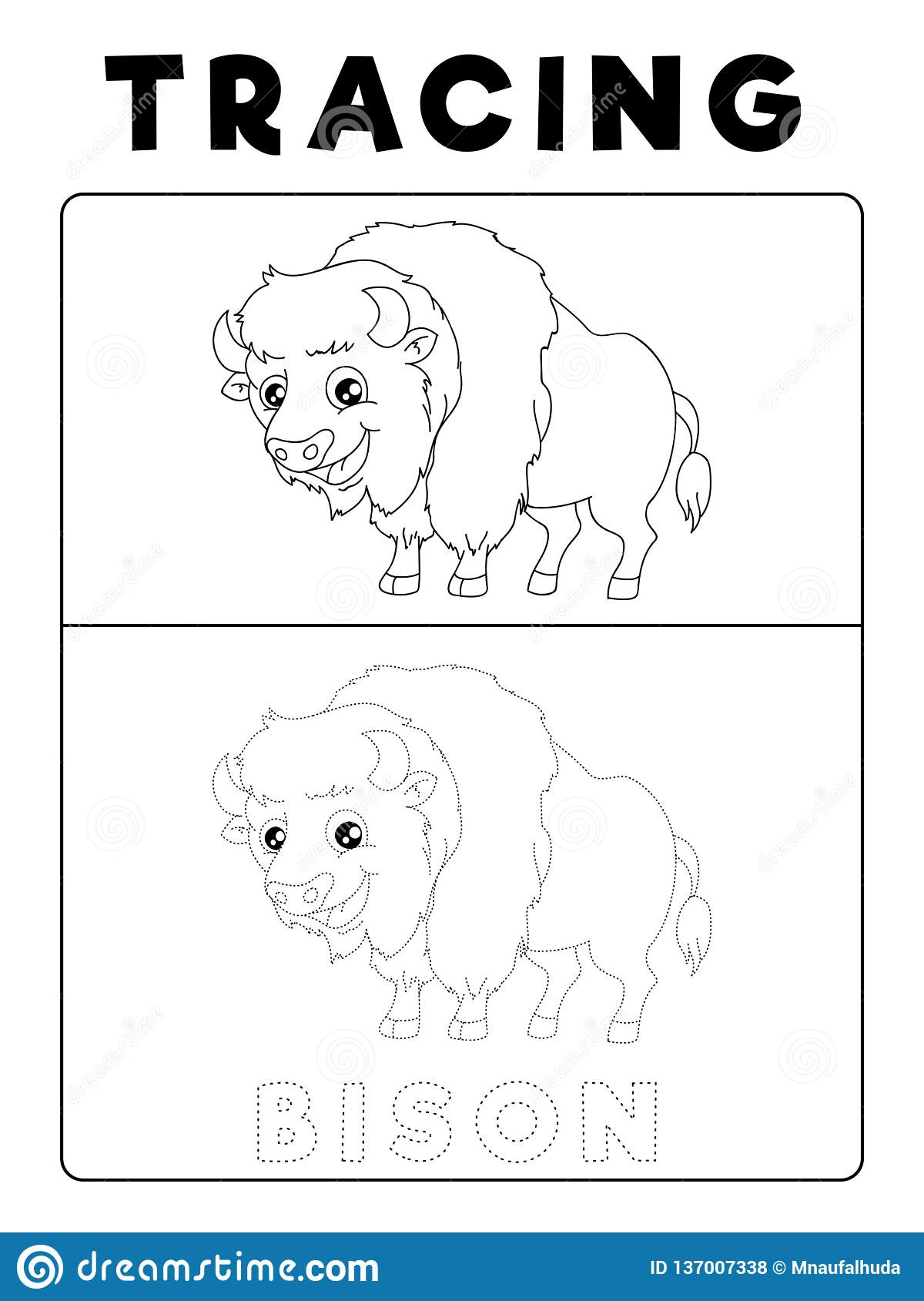 Funny Bison Tracing Book With Example Preschool Worksheet