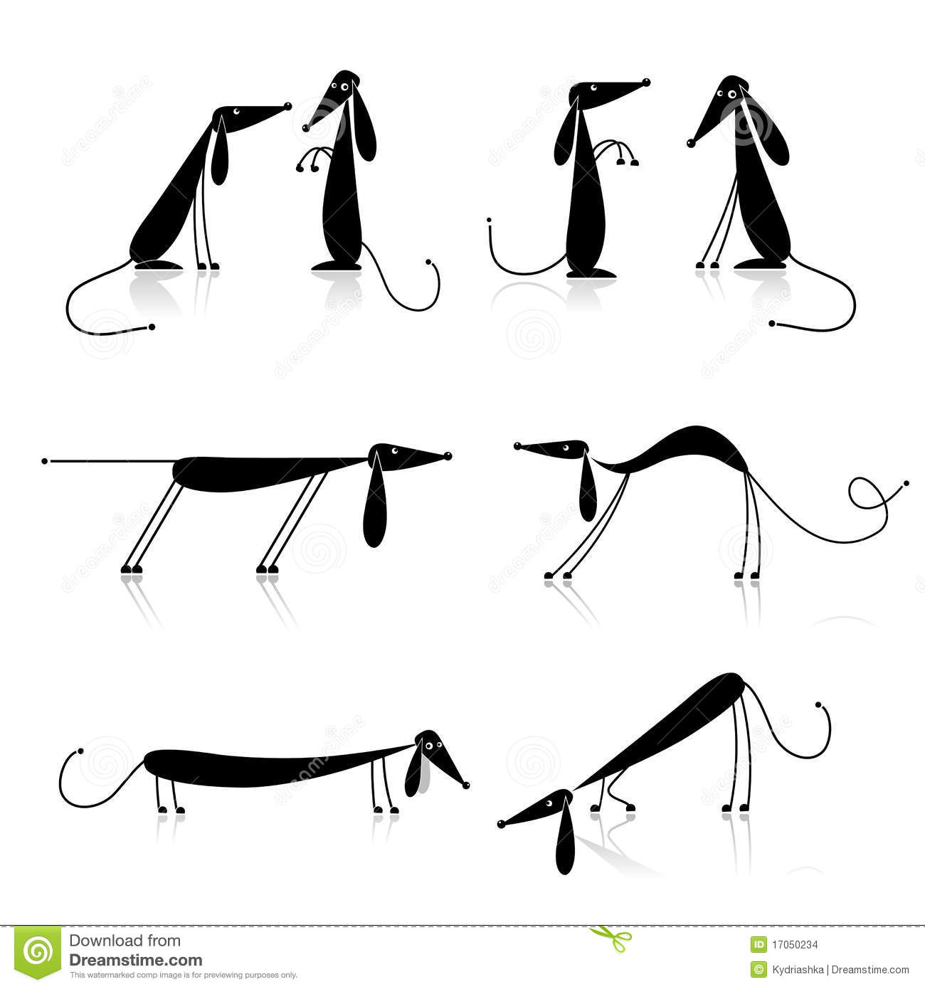 Funny Black Dogs Silhouette Collection Vector
