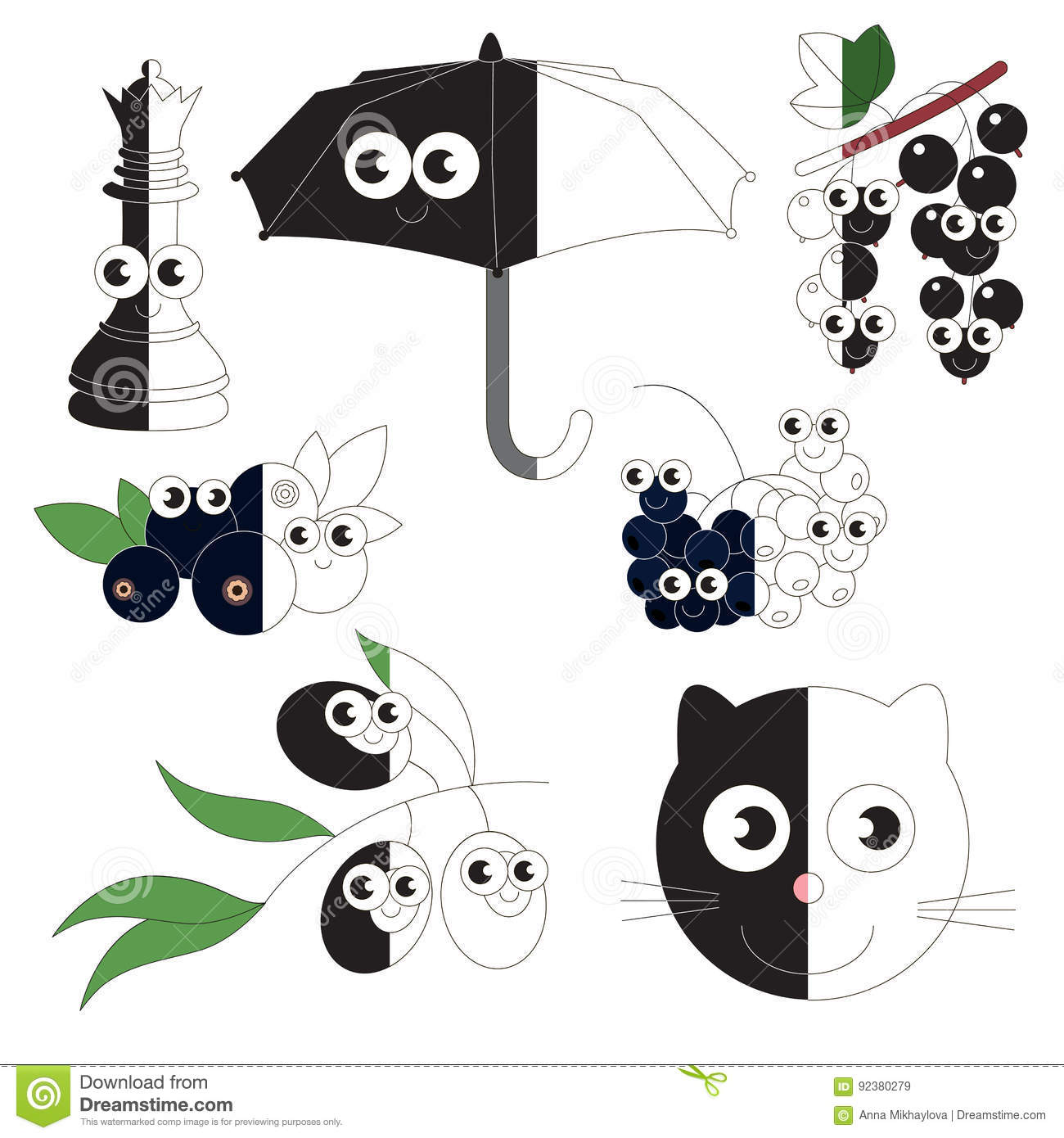 Funny Black Objects The Big Kid Game To Be Colored By Example Half Stock Vector