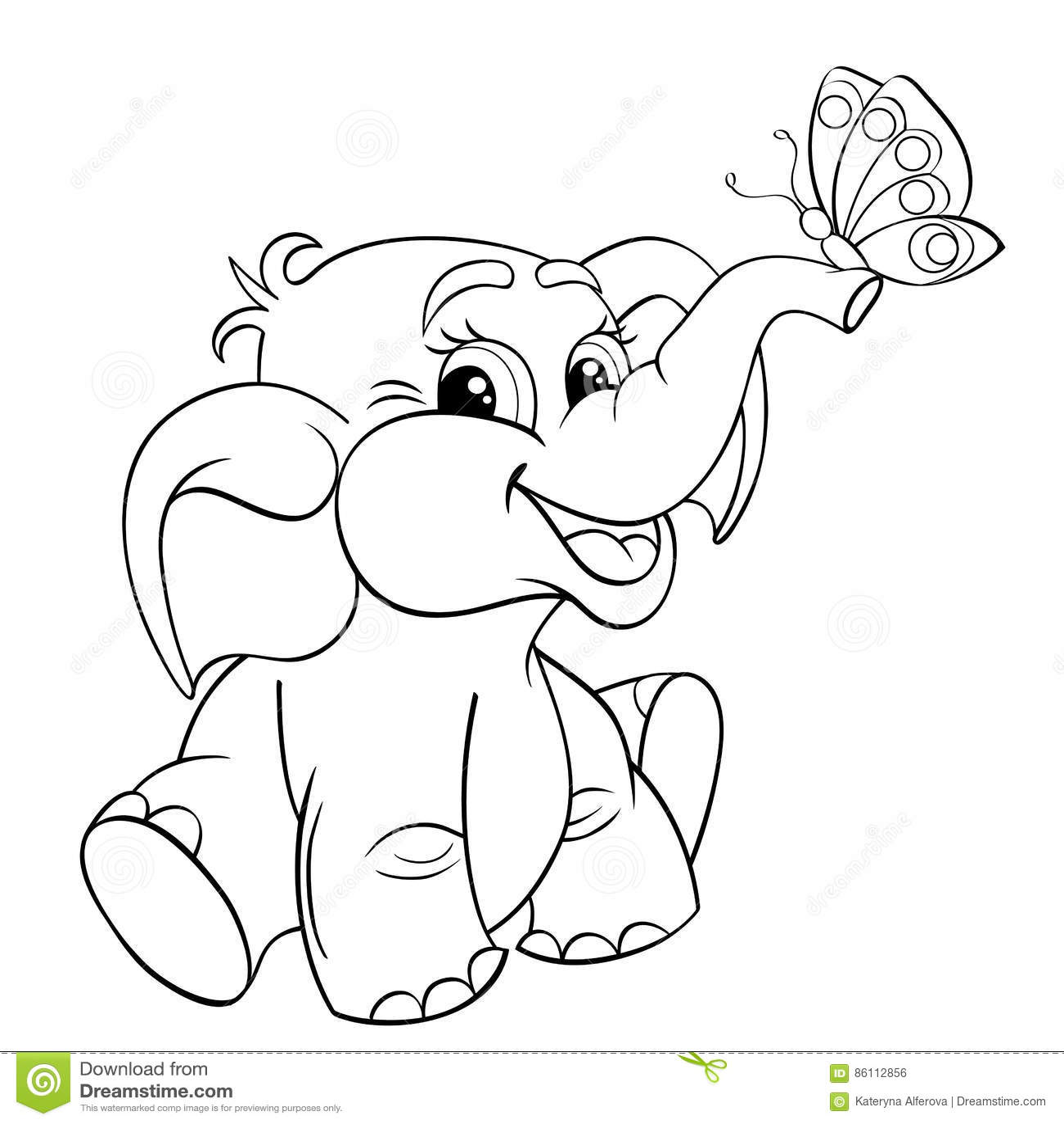 Cute Funny Baby Elephant Cartoon Vector