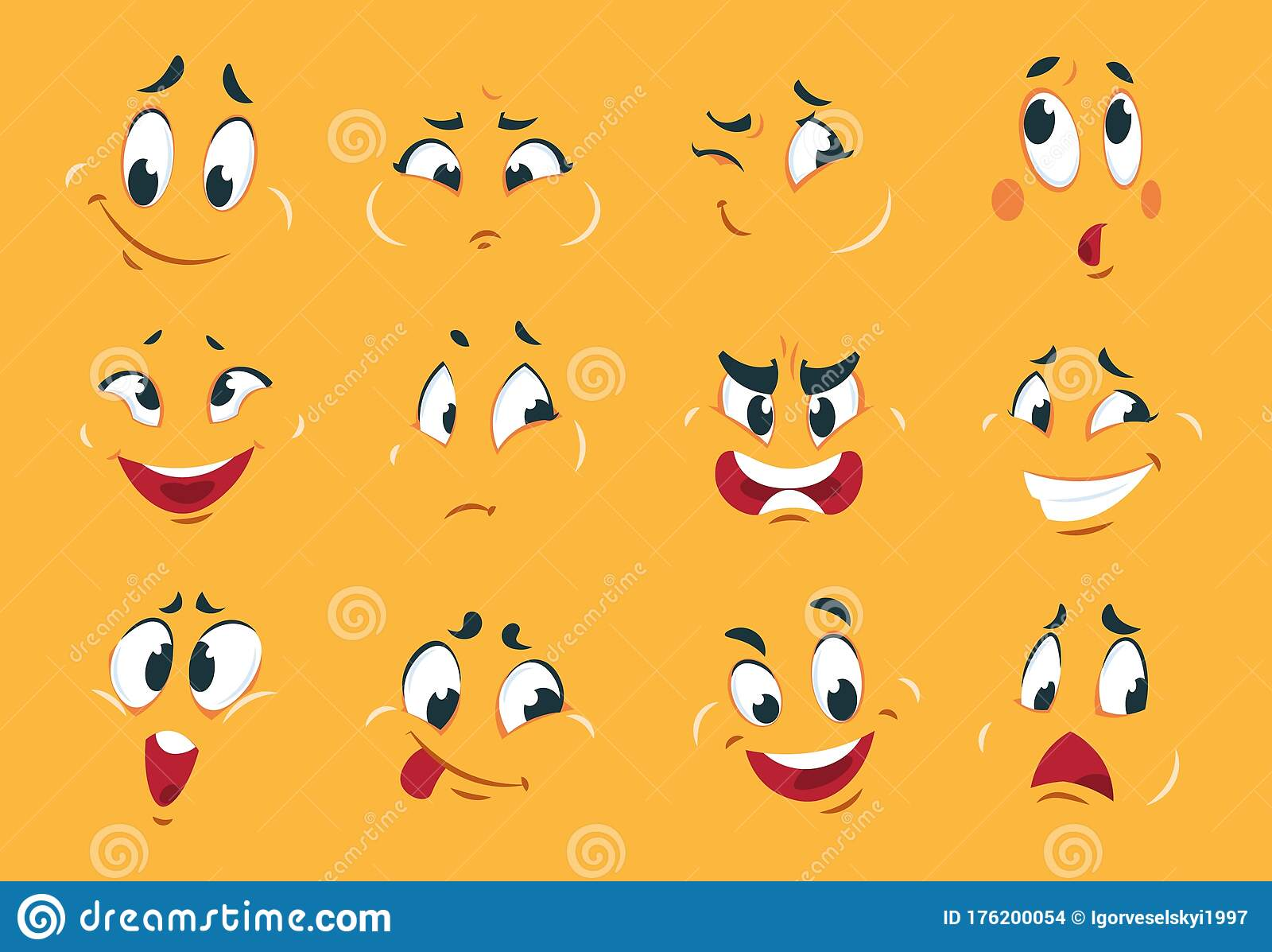 Funny Cartoon Faces Angry Character Expressions Eyes