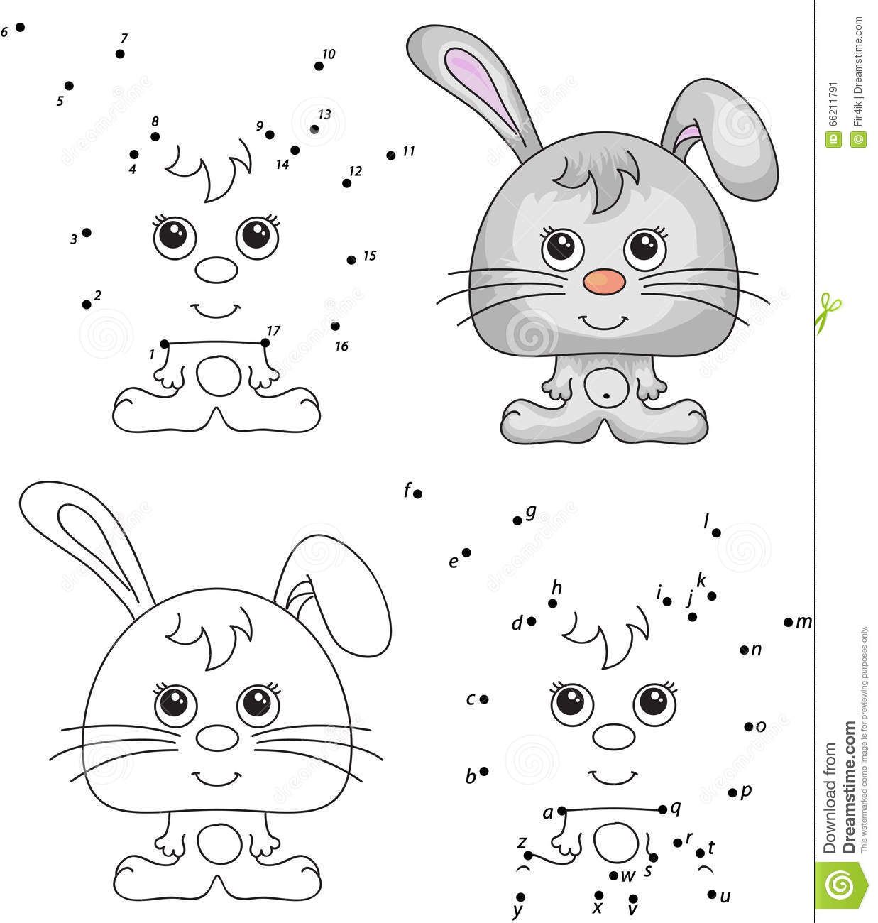 Funny Cartoon Hare Vector Illustration Coloring And Dot
