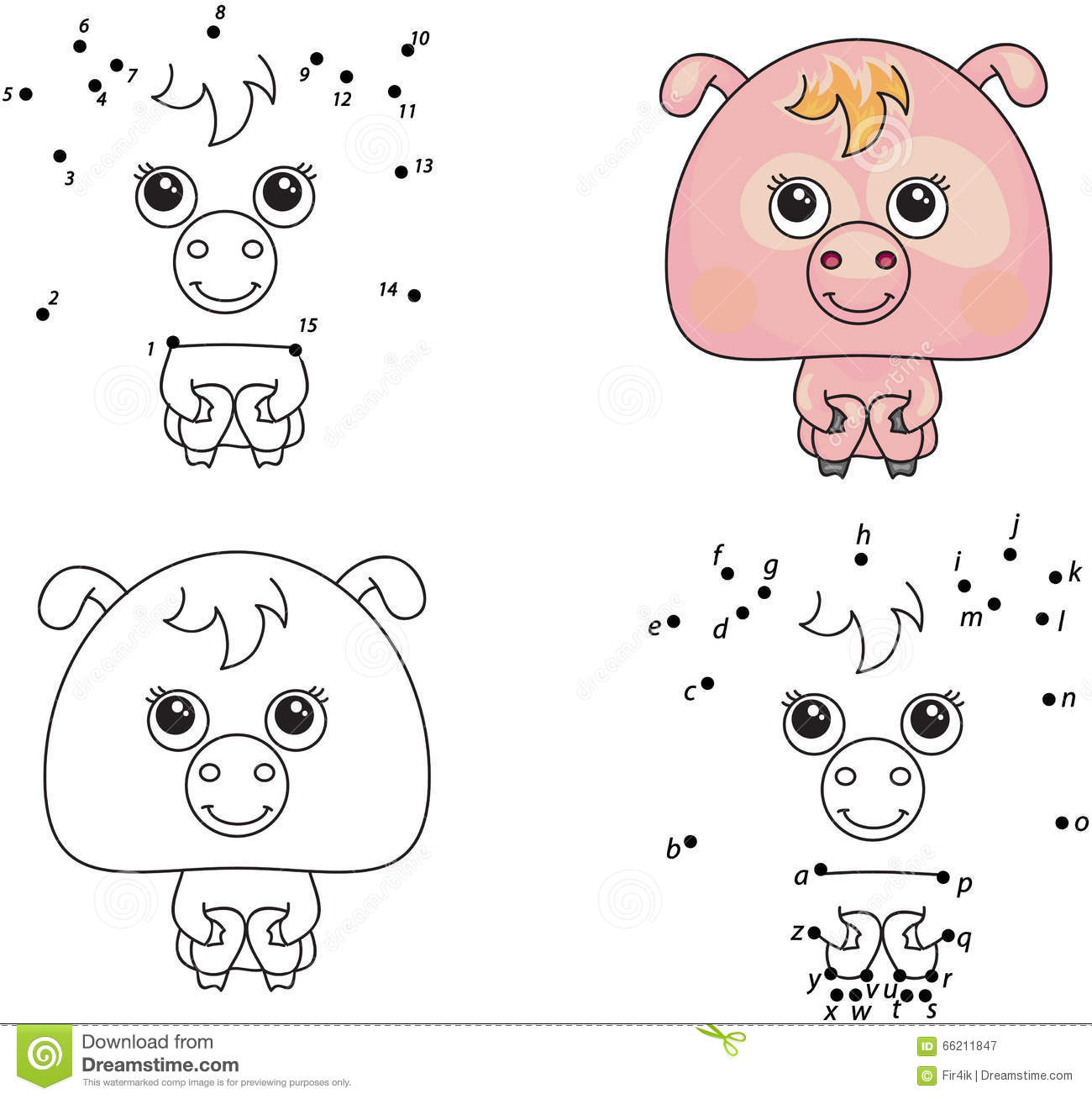 Funny Cartoon Pig Vector Illustration Coloring And Dot