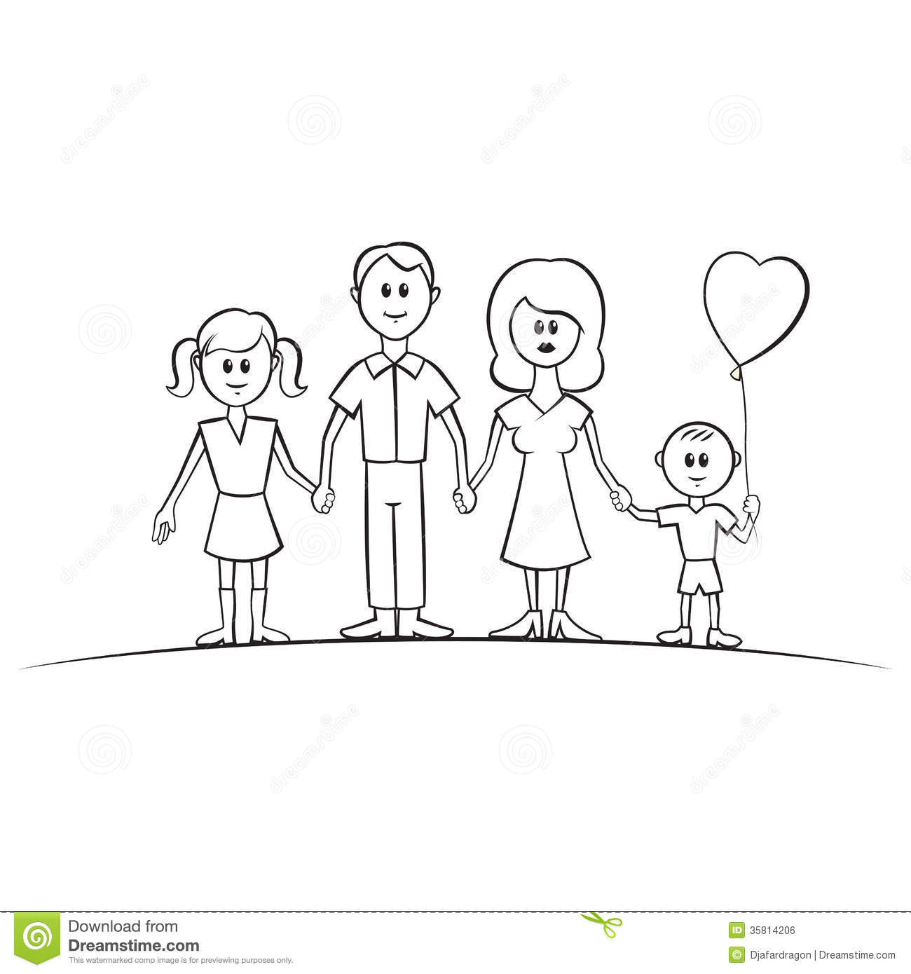 Funny Cartoon Vector Family Royalty Free Stock Image