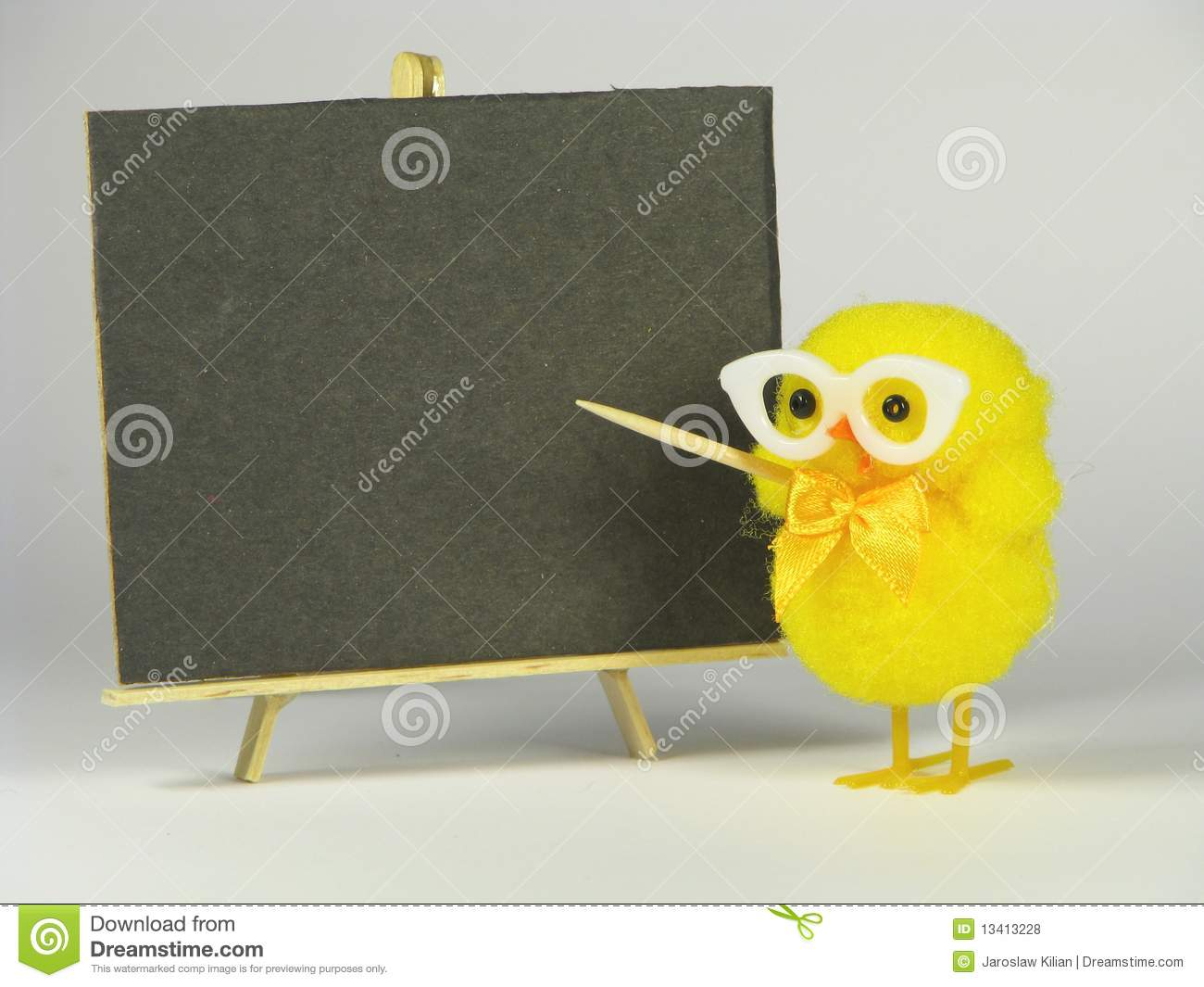 Funny Chicken In Glasses At School Board Royalty Free
