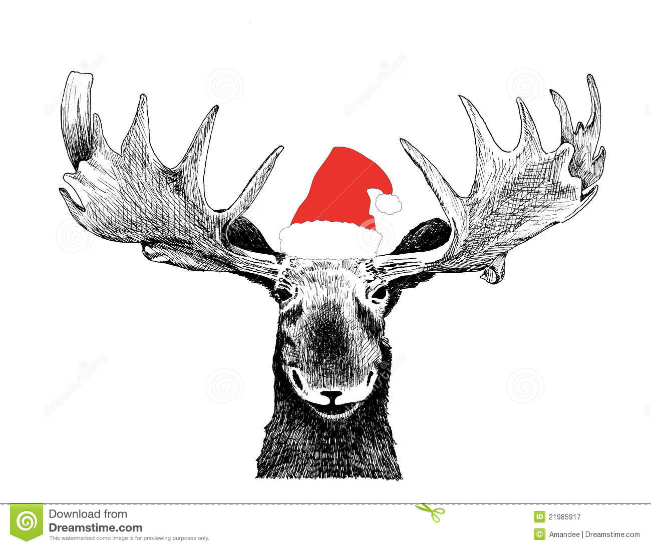 Funny Christmas Moose With Santa Claus Hat Royalty Free