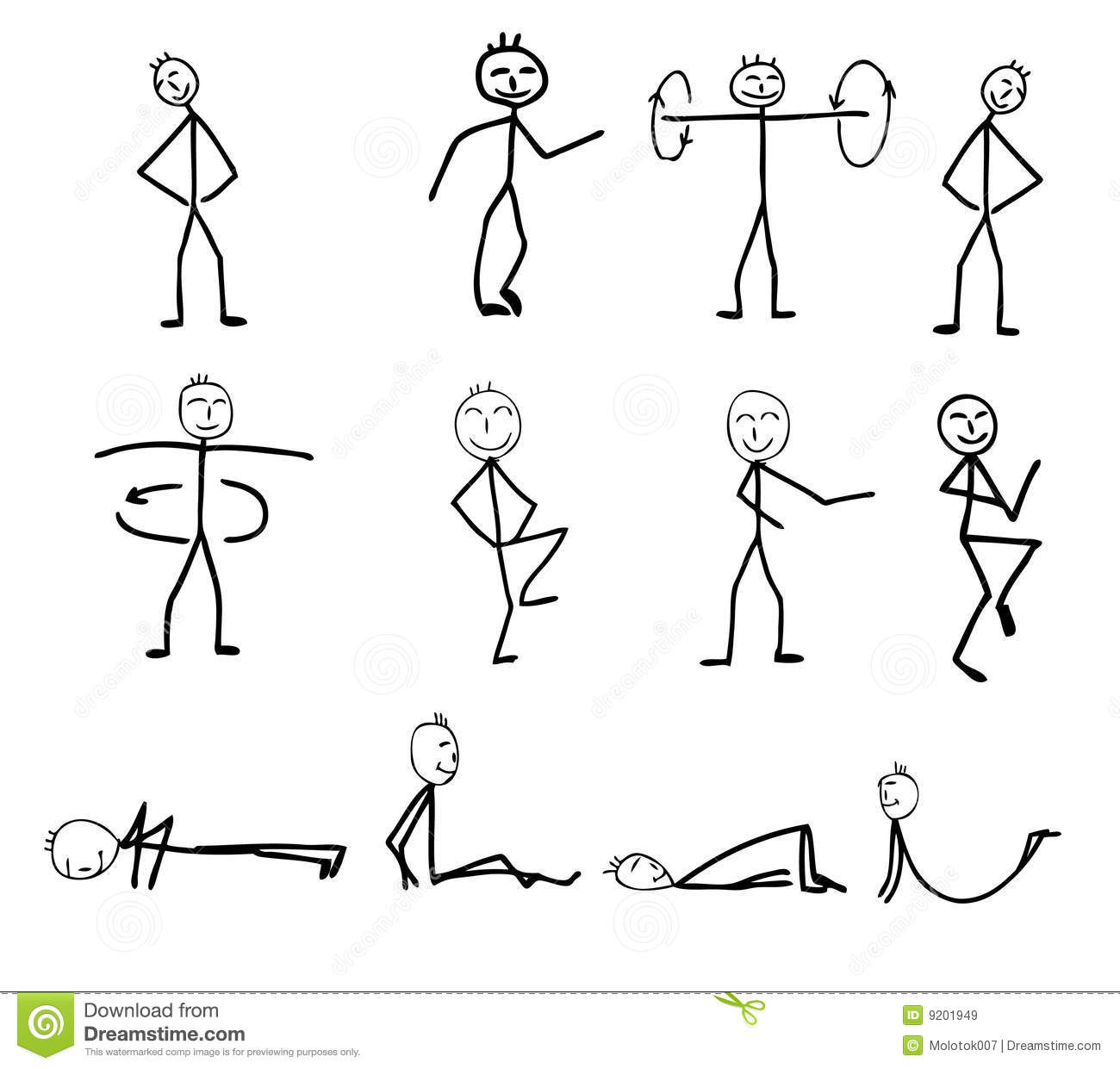 Funny Fitness Silhouettes Royalty Free Stock Images