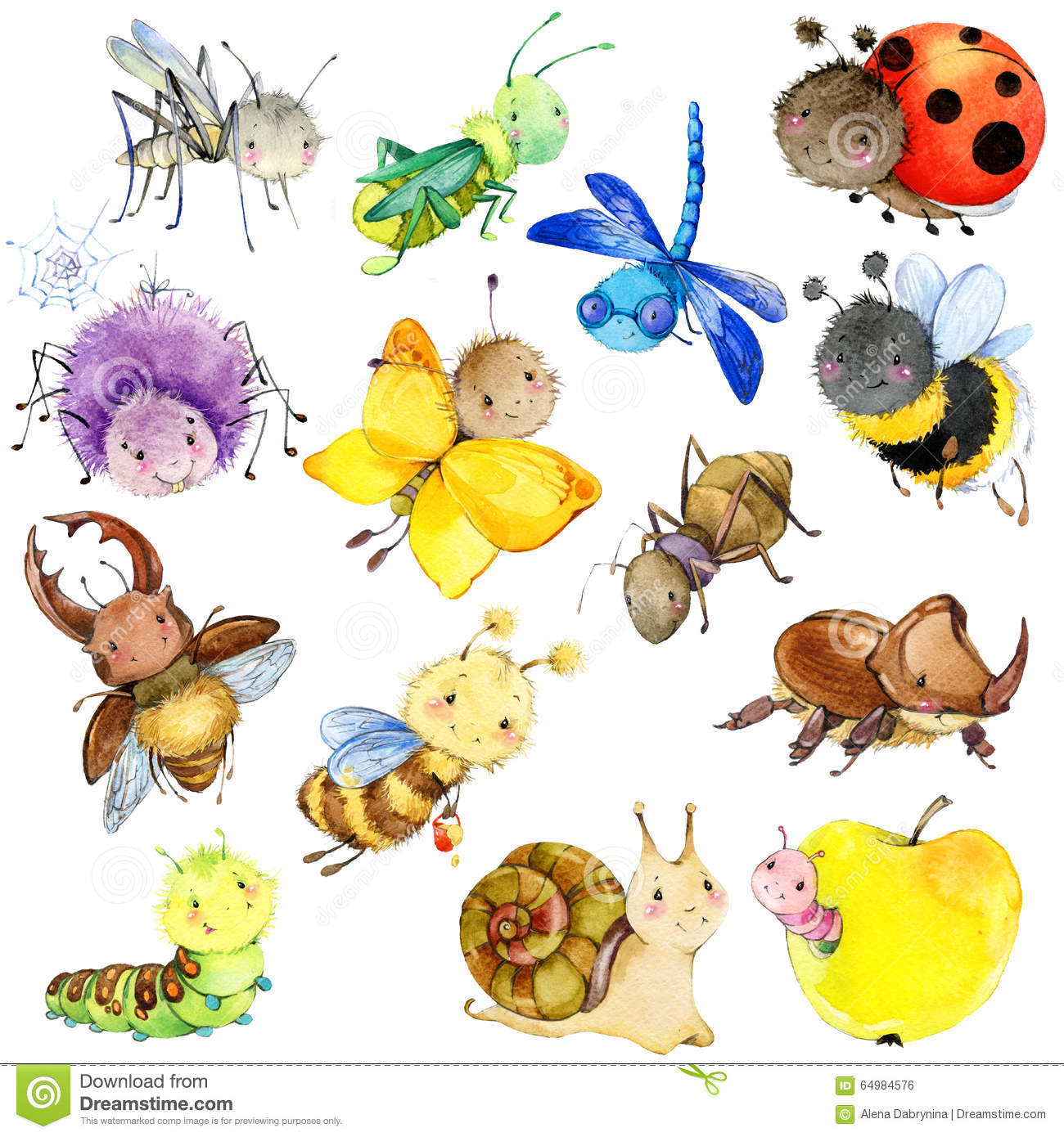 Funny Insects Collection Watercolor Cartoon Insect Stock
