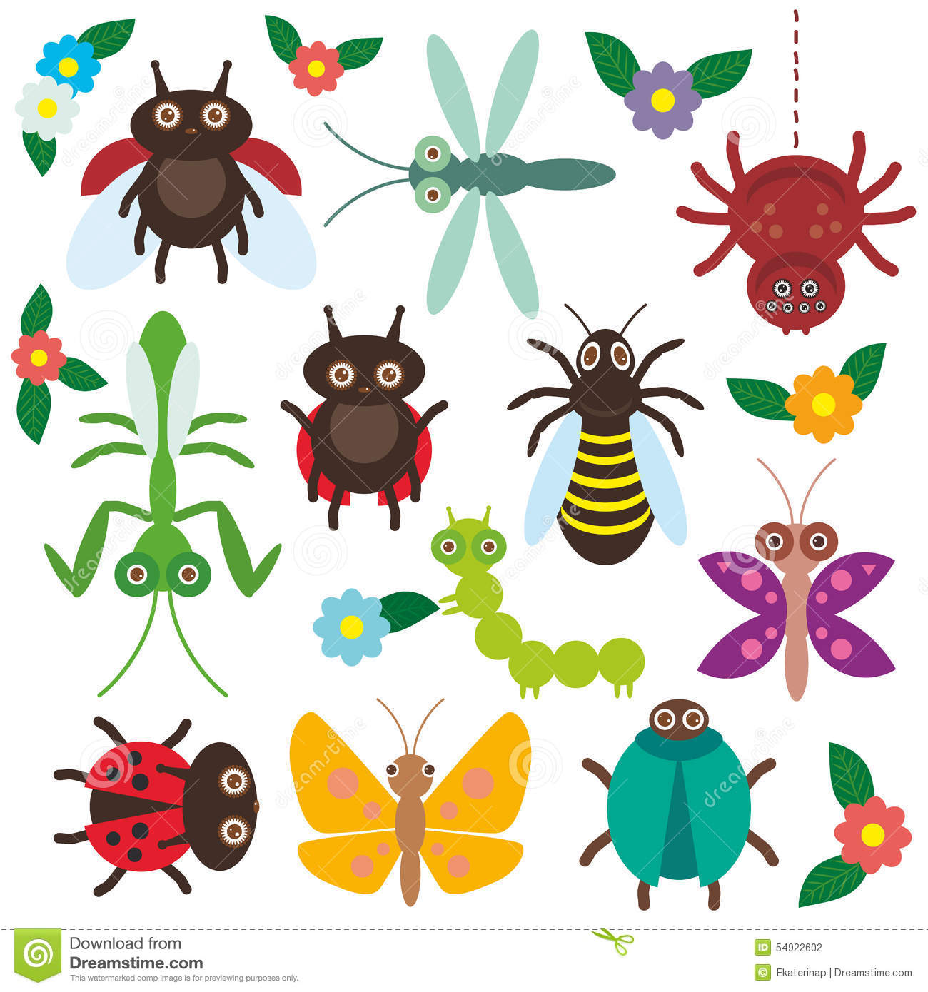Funny Insects Set Spider Butterfly Caterpillar Stock