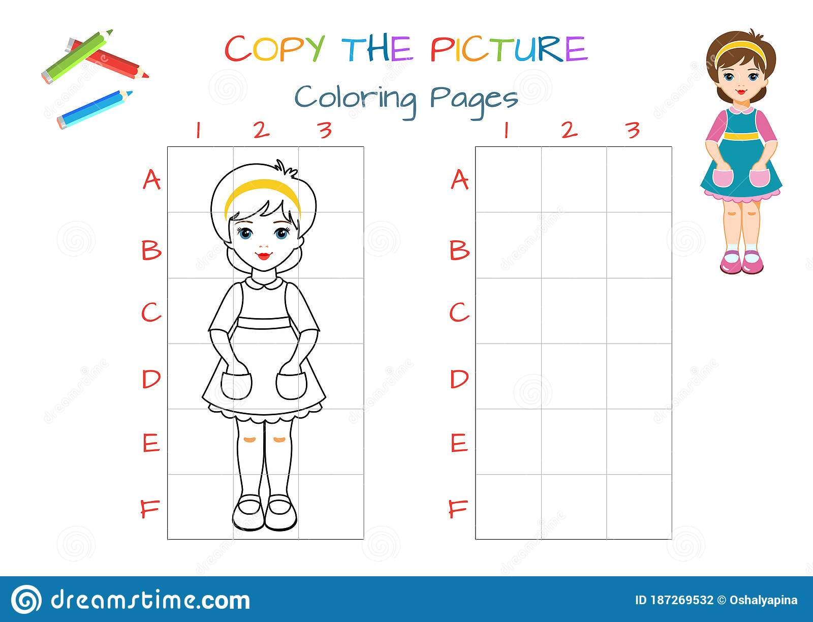 Funny Little Paper Doll Girl Copy The Picture Coloring