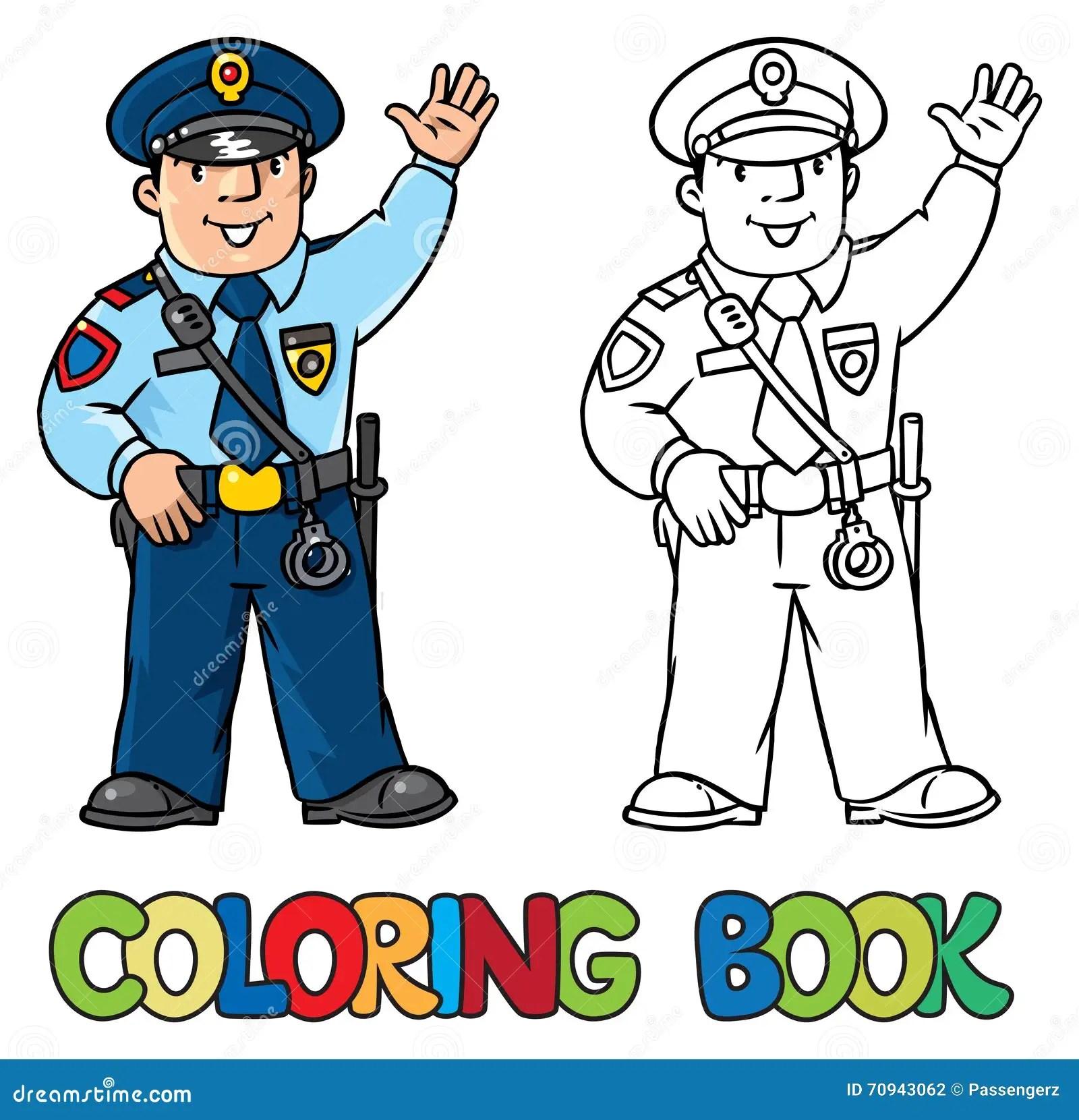 Funny Policeman Coloring Book Stock Vector