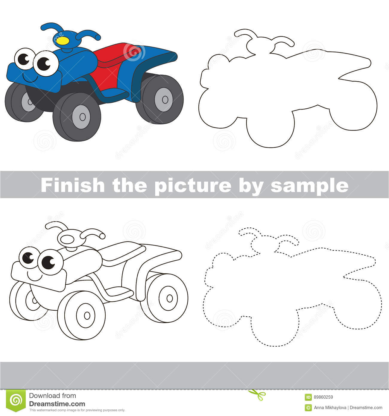 Funny Quad Bike Drawing Worksheet Stock Vector