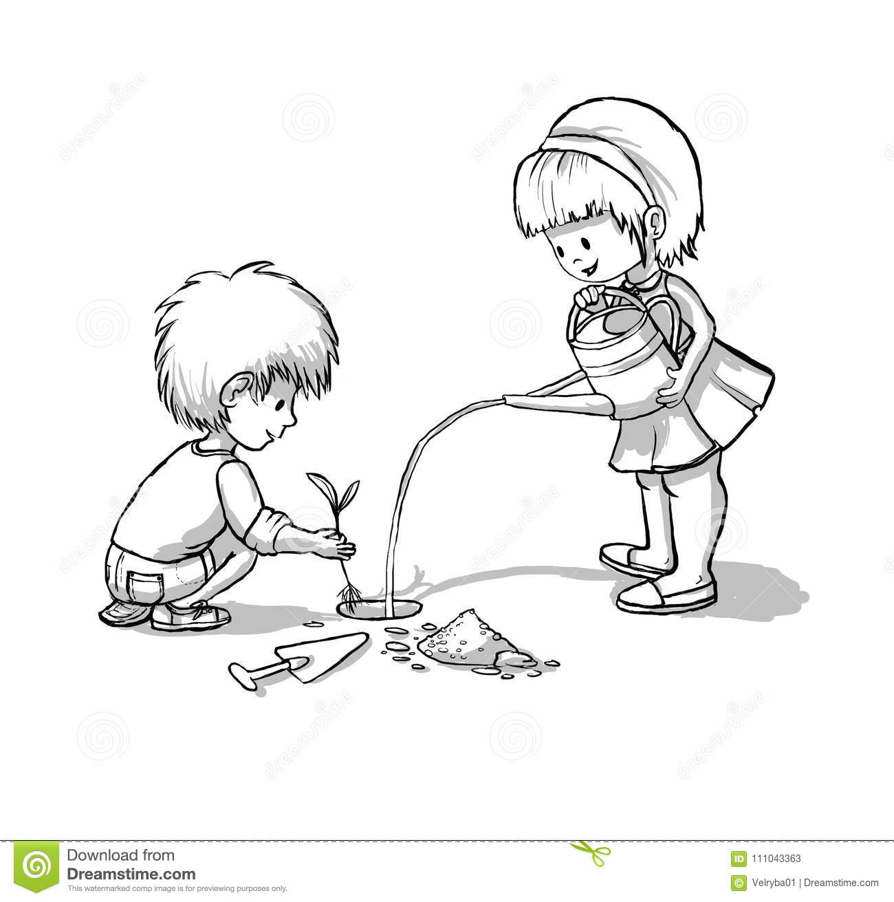 Kids Planting A Tree Ecology Earth Day Stock Illustration