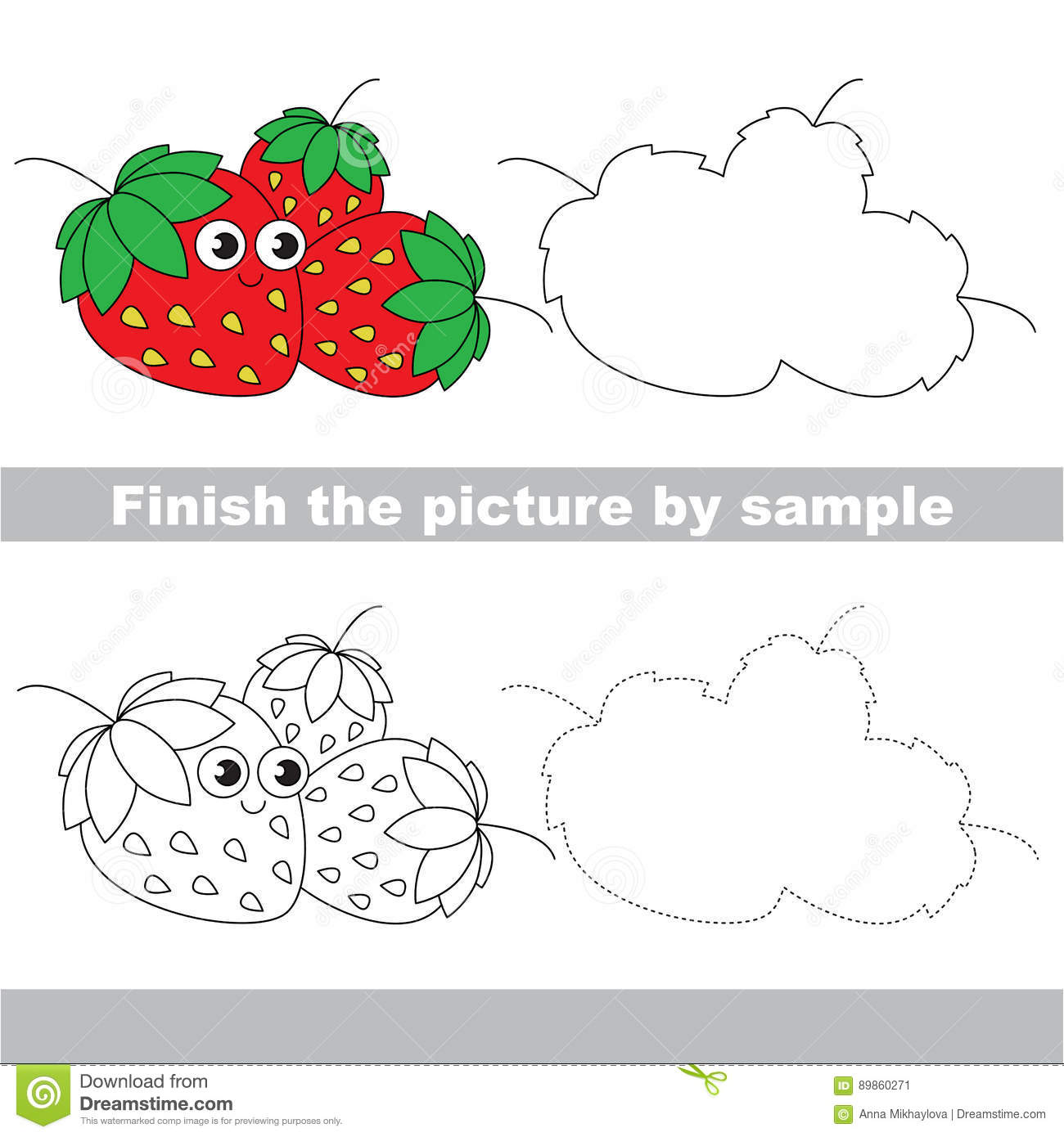 Funny Strawberry Drawing Worksheet Stock Vector