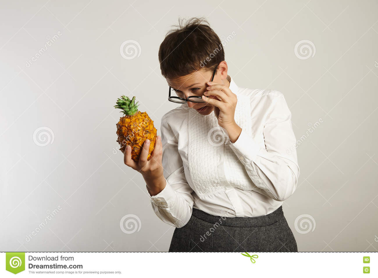 Funny Teacher With A Pineapple Stock Image