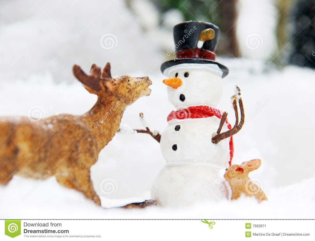 Funny Winter Snowman Stock Image Image Of Hungry Rabbit