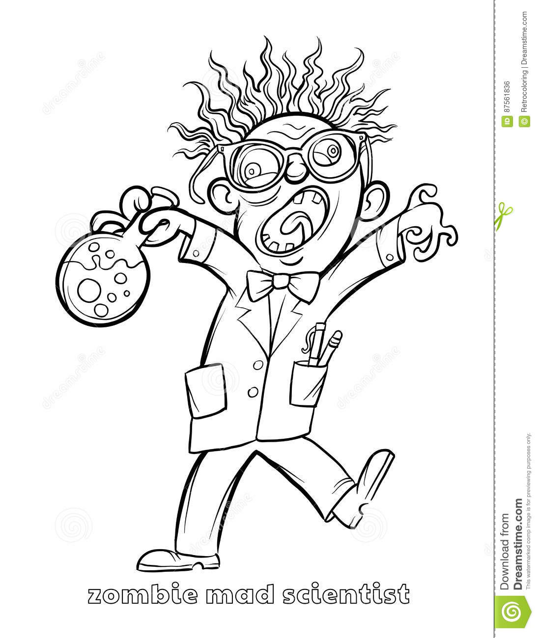 Funny Zombie Mad Scientist Coloring Page Stock Vector