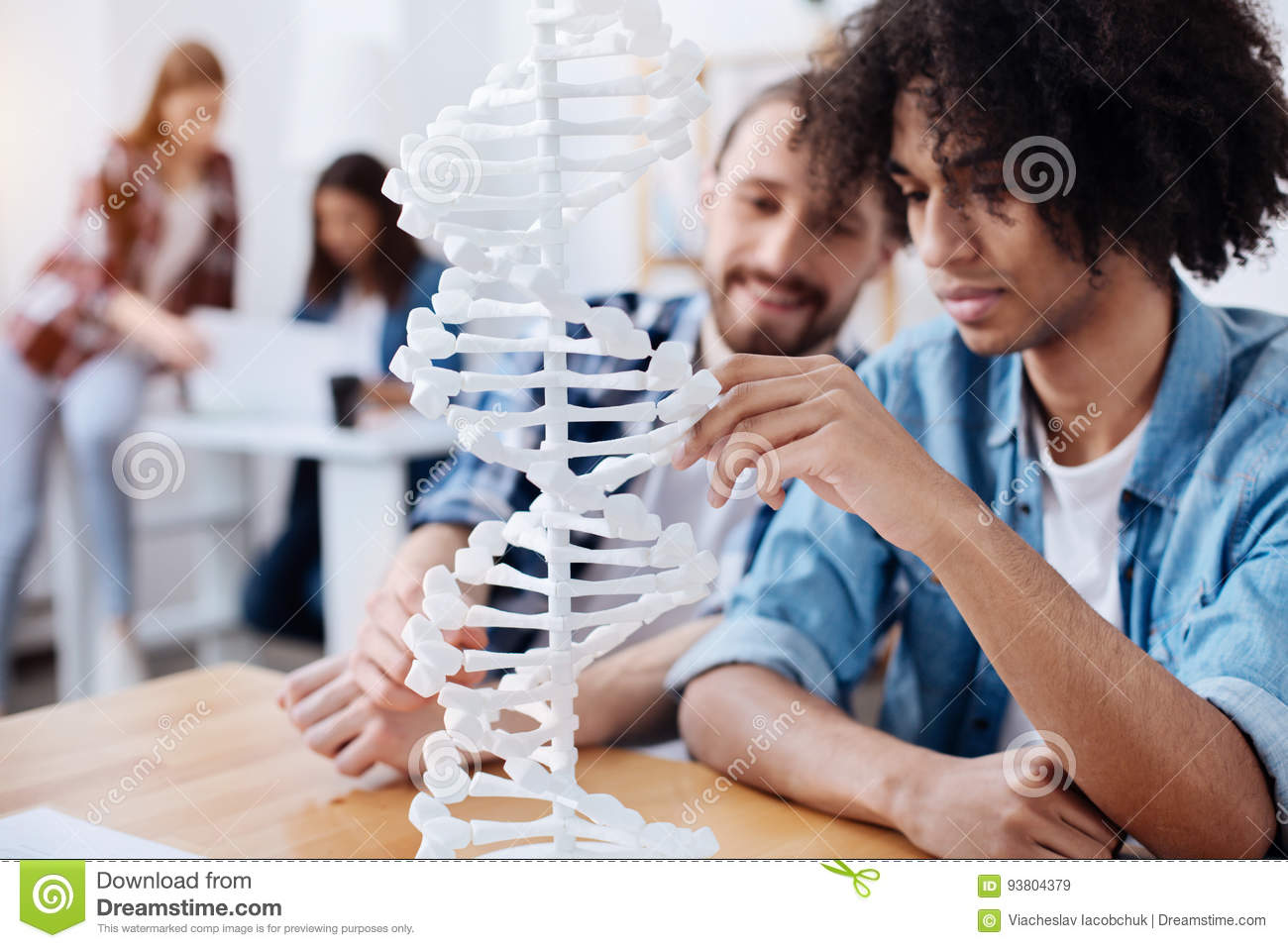 Future Scientist Studying Human Dna Structure Stock Image