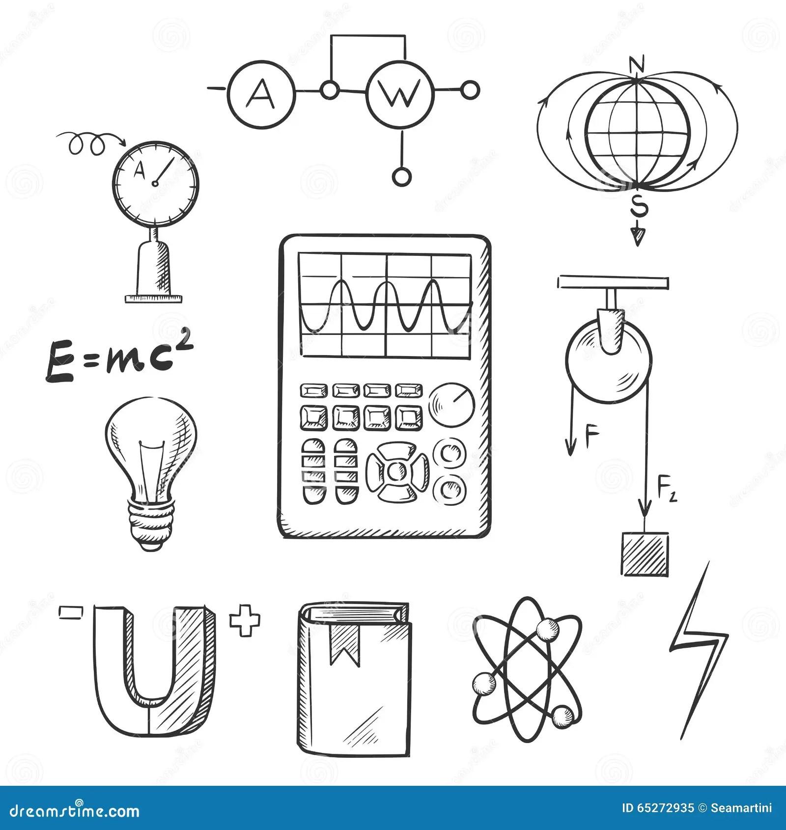 Fysik Och Mekaniker Skissar Symboler Vektor Illustrationer