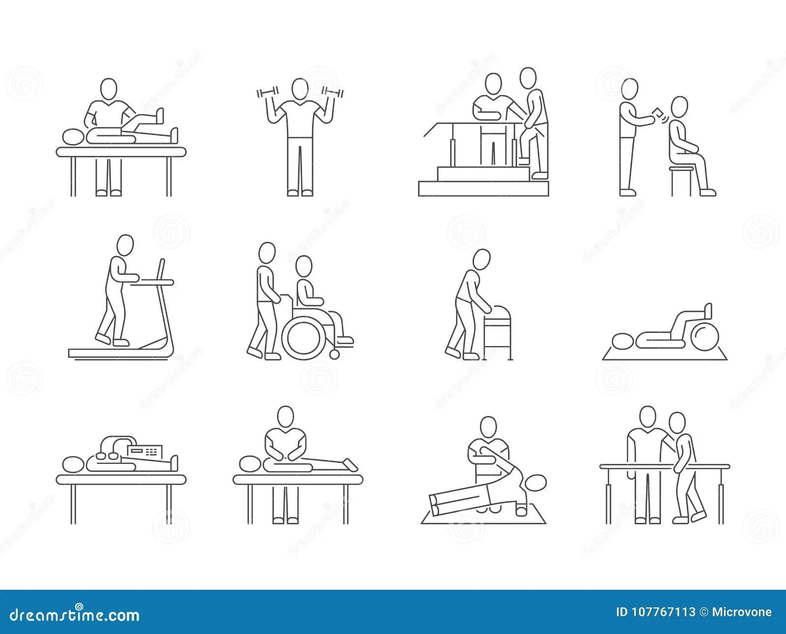 Fysiotherapie En Rehabilitatie Oefeningen En Vector De