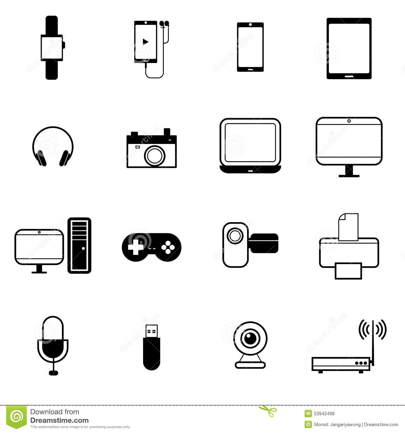 Gadget And Mobile Device Icon Set Vector Illustration