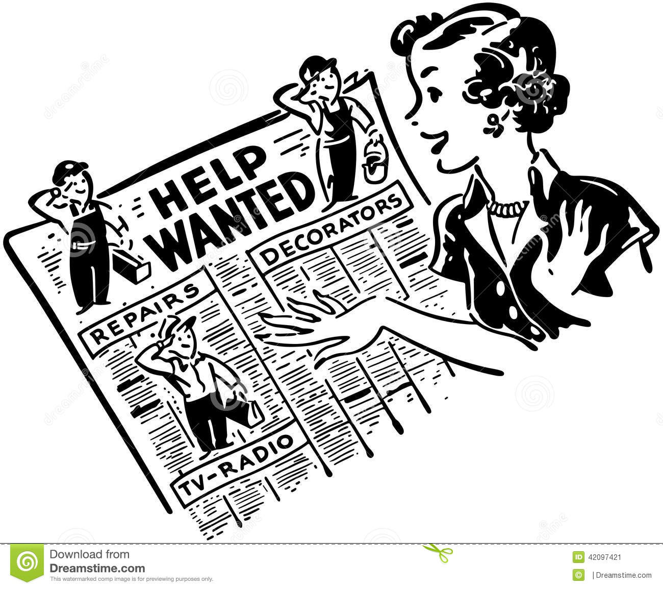 Gal Reading Help Wanted Ads Stock Vector
