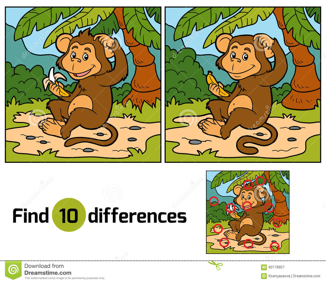 Game For Children Find Differences Little Monkey Stock