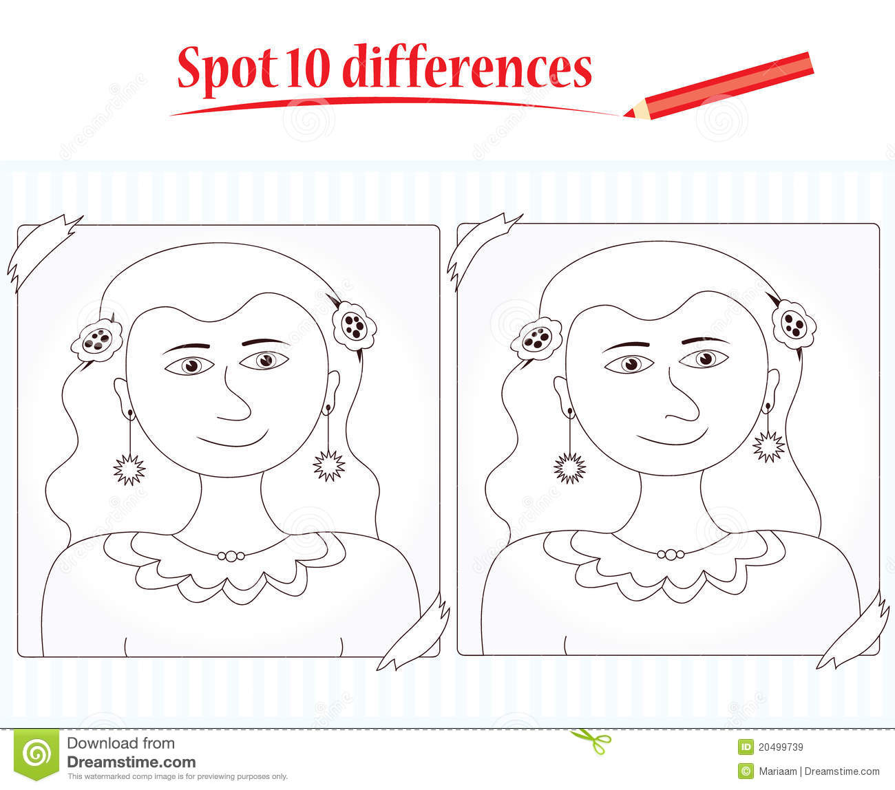 Game For Kids Spot 10 Differences Royalty Free Stock