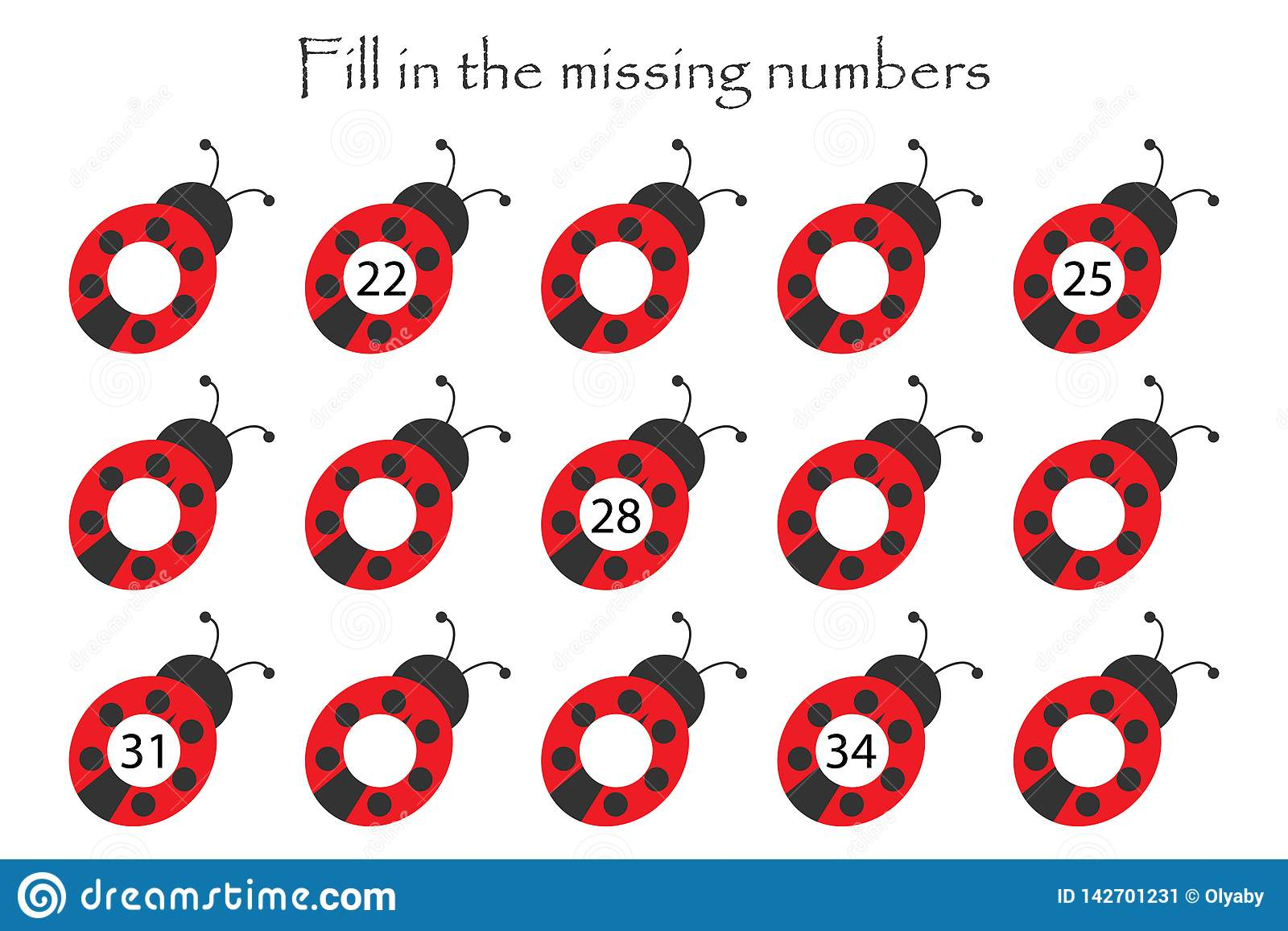 Game With Ladybugs For Children Fill In The Missing