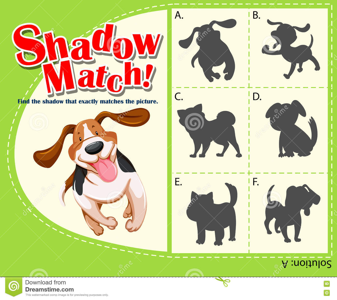 Game Template With Shadow Matching Dog Stock Vector