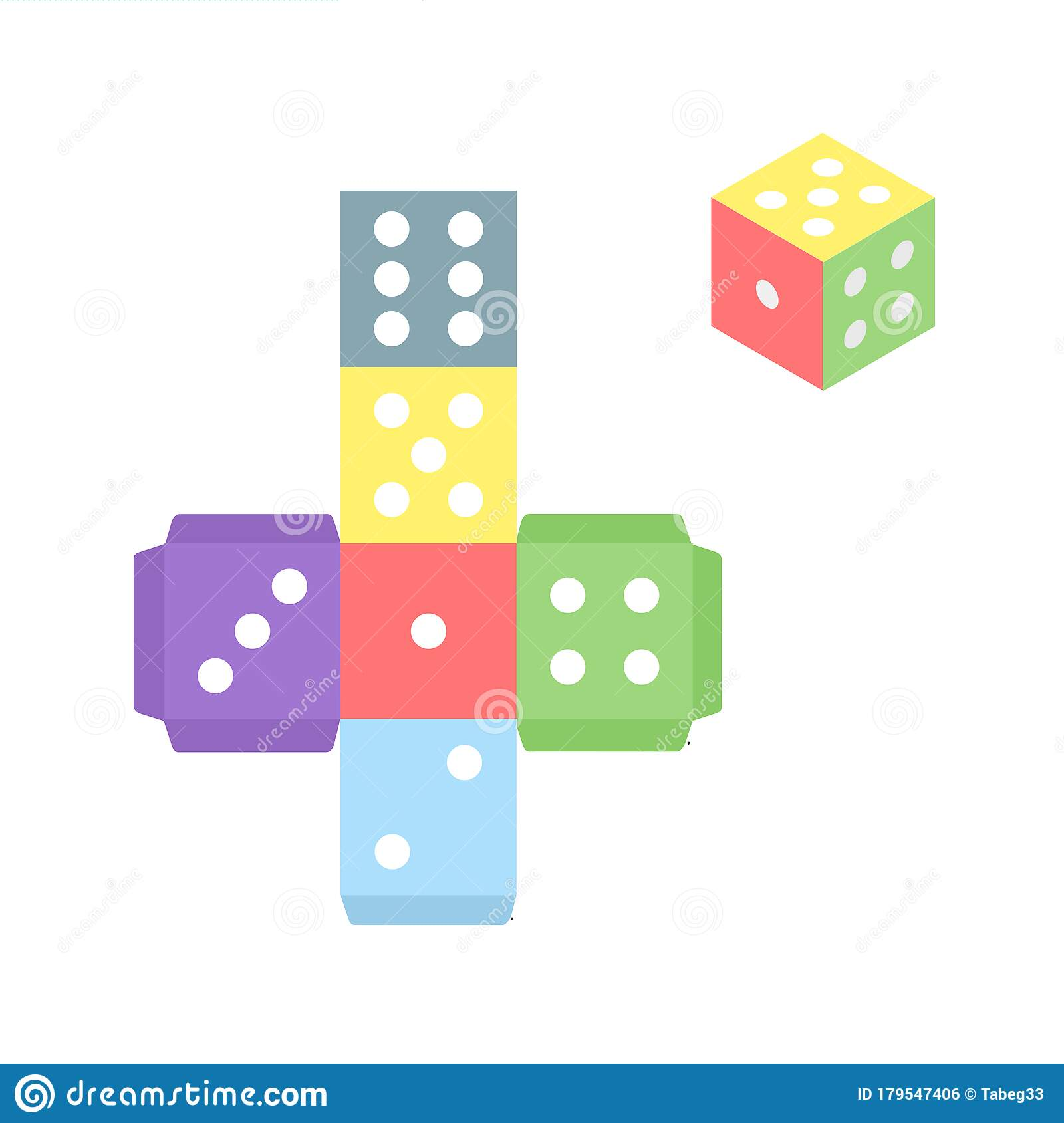 Gamecube For Print Multicolor Dice Template On White
