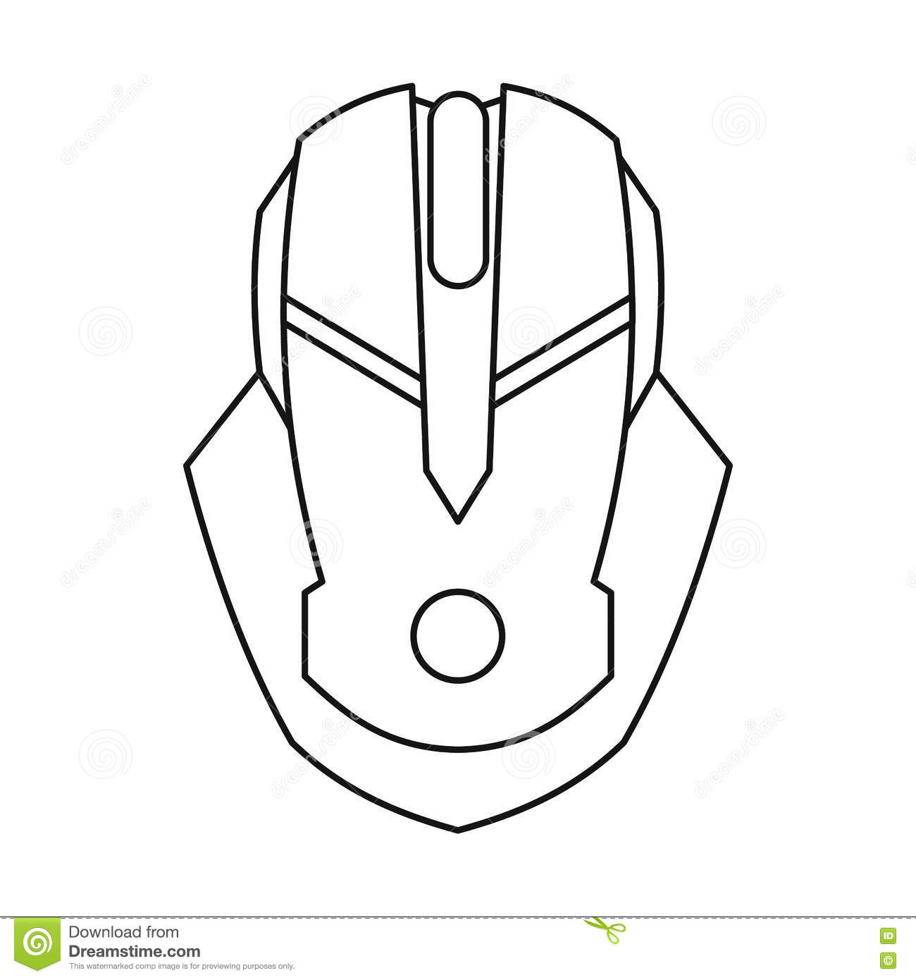 Gaming Mouse Icon Outline Style Stock Vector