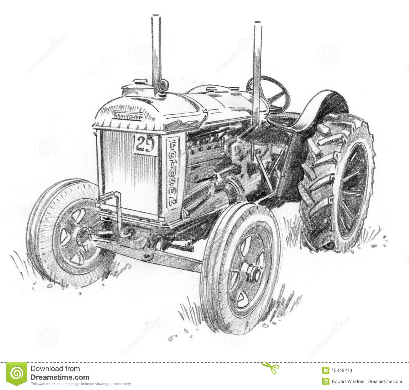 Gammal Traktor Stock Illustrationer Illustration Av Motor