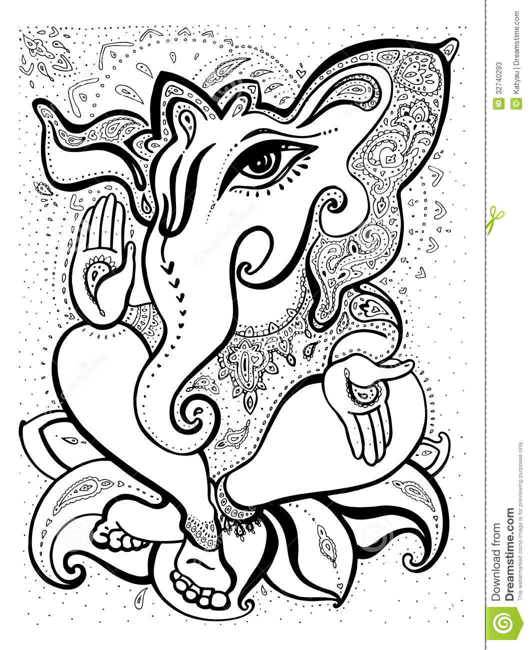 Ganesha Hand Drawn Illustration Stock Illustration