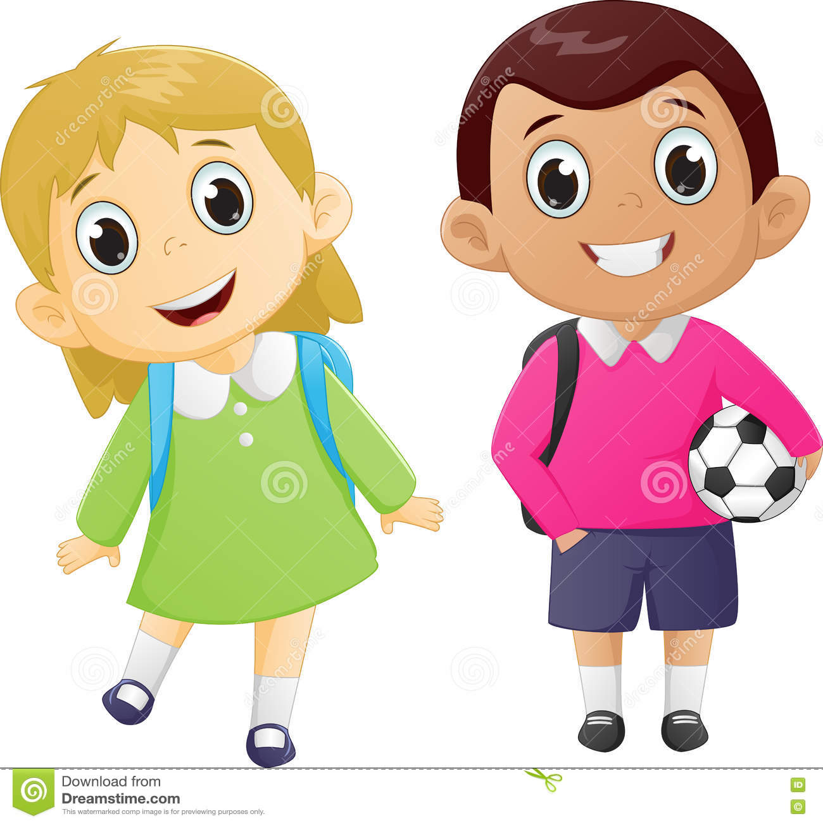 Garcon Heureux Et Fille Prets A Retourner A L Ecole