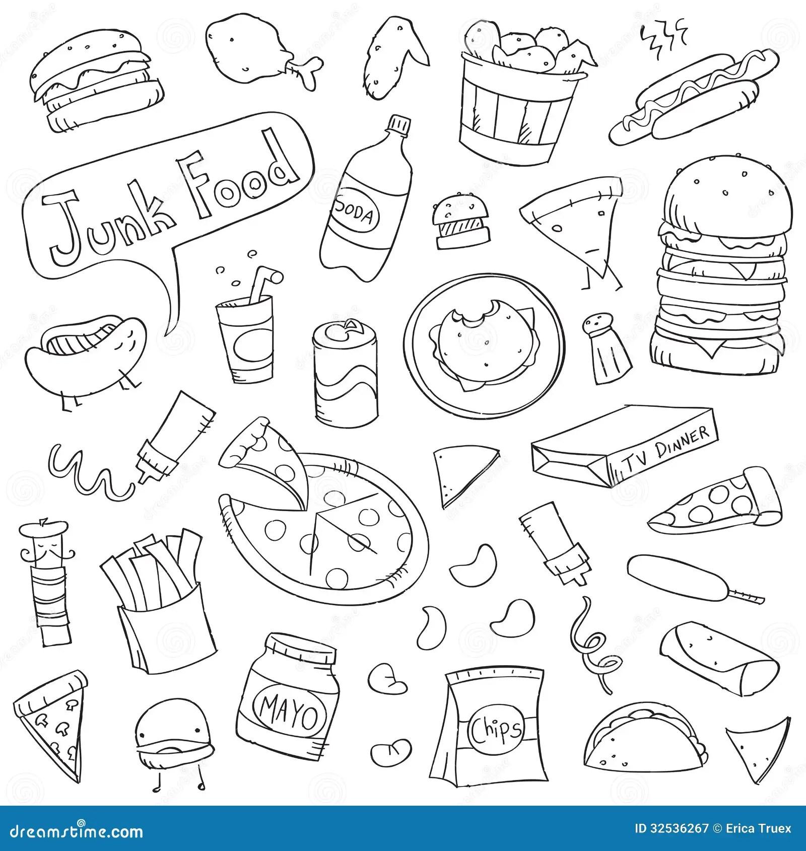 Garabatos Lindos De Junk Food Ilustracion Del Vector