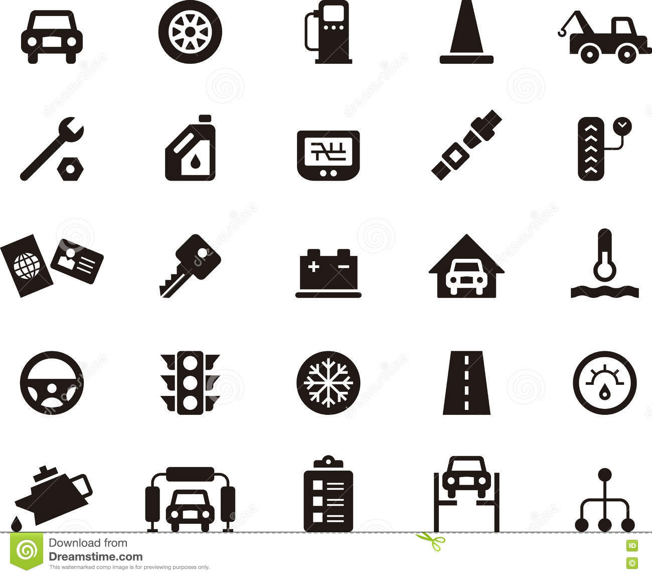 Icons For The Garage And Car Repair Royalty Free Stock