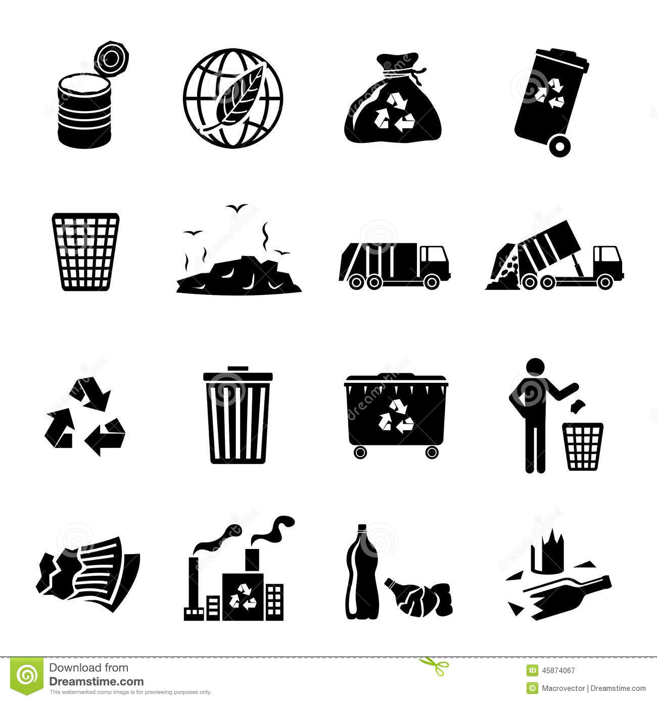 Garbage Icons Black Stock Vector Illustration Of Rubbish