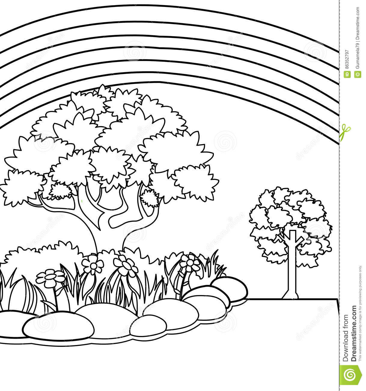 Garden Coloring Page Stock Illustration Illustration Of Juvenile