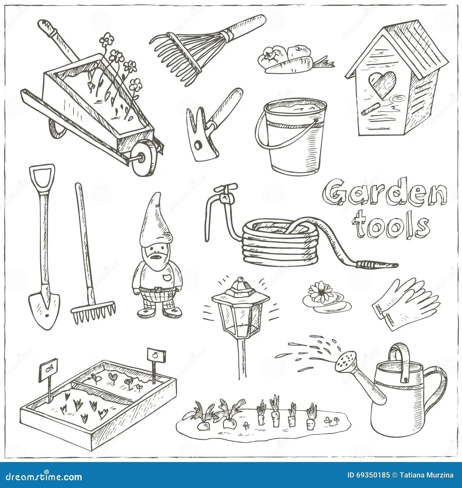 Garden Tools Doodle Set Various Equipment And Facilities