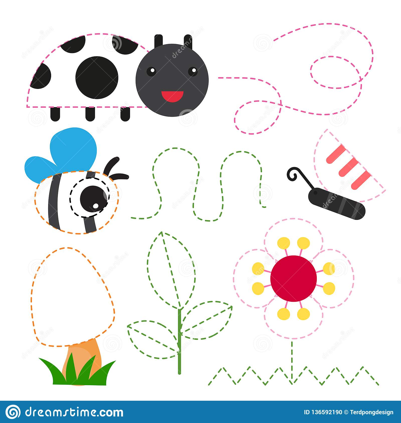 Garden Worksheet Vector Design Stock Vector