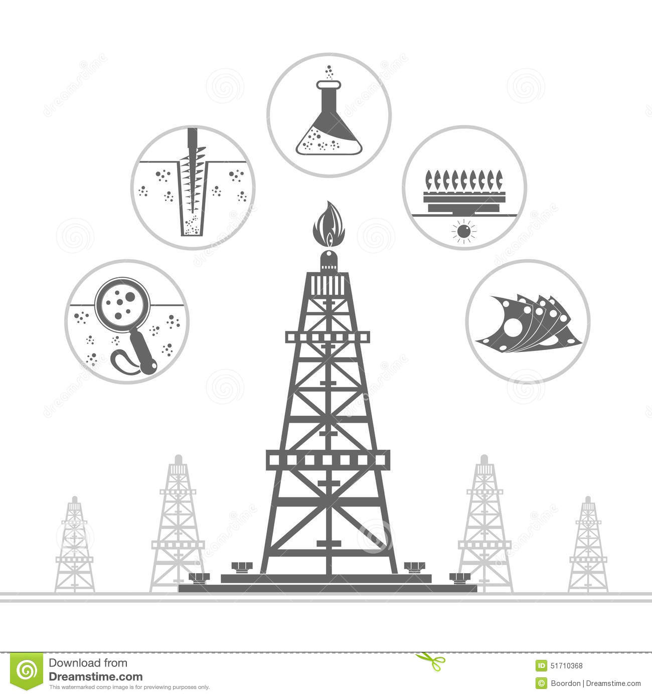 Gas Rig Or Oil Derrick With Icons Of Process Production