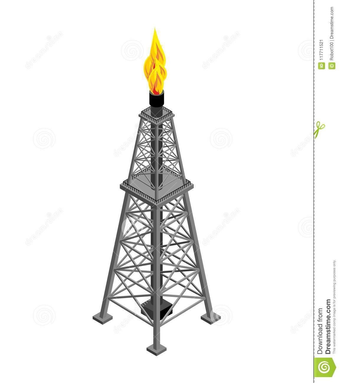 Gas Tower Isometric Industrial Object Vector
